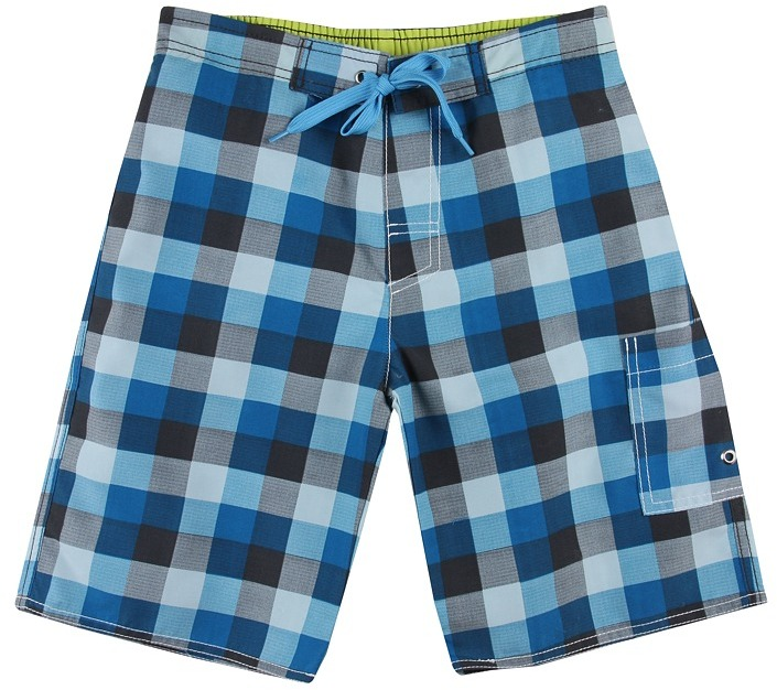 Charlie Rocket Buffalo Plaid Swim Short (Toddler/Little Kids/Big Kids) (Pool) - Apparel