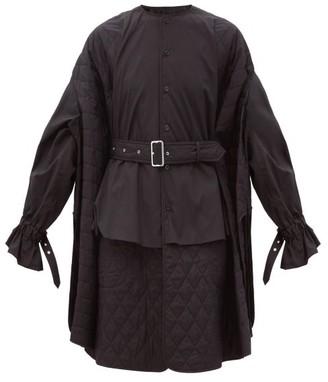 Noir Kei Ninomiya Quilted-panel Cotton Shirt Dress - Black