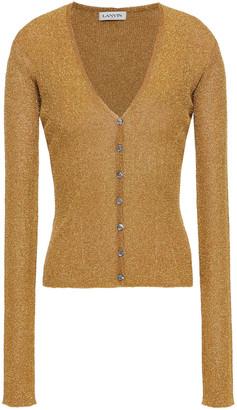 Lanvin Metallic Ribbed-knit Cardigan