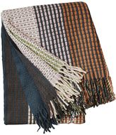 Linum Chimes Hand-Woven Wool Throw W/ Fringe