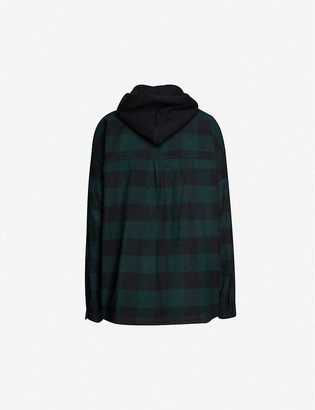 Palm Angels Logo-print checked hooded cotton-blend jacket