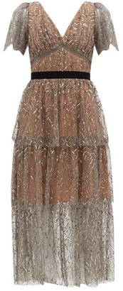 Self-Portrait Tiered Sequinned Tulle Midi Dress - Silver