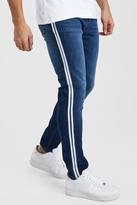 boohoo Mens Blue Skinny Jeans With Side Tape, Blue