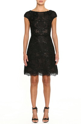 Marchesa Beaded Lace Cocktail Dress