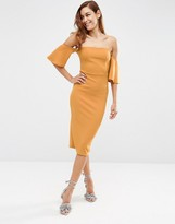 Asos Fluted Sleeve Midi Dress In Texture