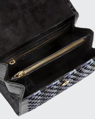 Nancy Gonzalez Lily Medium Woven Straw/Crocodile Top-Handle Bag
