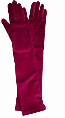 Dents Ladies Long Soft Stretch Velvet Evening Dress Gloves (Claret)