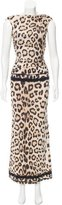 Roberto Cavalli Sleeveless Leopard Print Gown