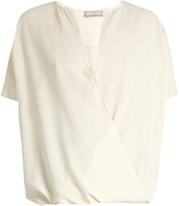Vince Draped-front short-sleeved silk top