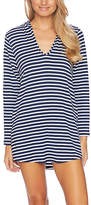 Splendid Navy Stripe Hooded Pocket V-Neck Modal-Blend Cover-Up Tunic