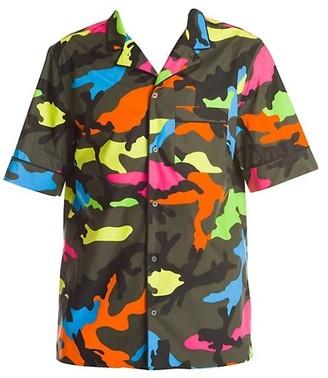Valentino Colorful Camo Print Short-Sleeve Shirt