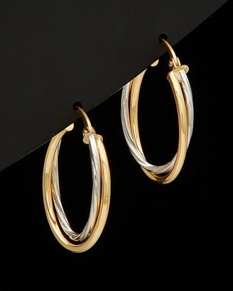Italian Gold 14K Two-Tone Double Hoop Earrings