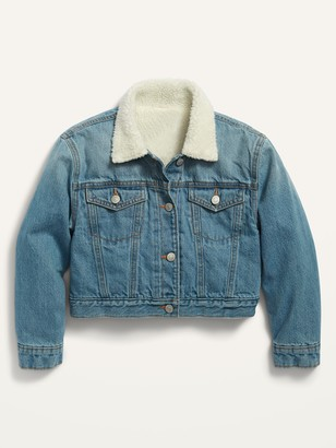 Old Navy Sherpa-Lined Cropped Trucker Jacket for Girls