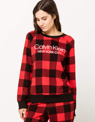Calvin Klein Lounge Checkered Red Womens Sweatshirt
