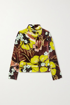 Dries Van Noten Floral-print Velvet Top - Lime green