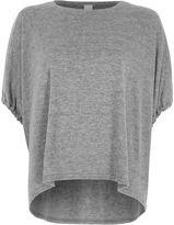 River Island Womens Grey drawstring short sleeve knit top