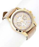 Geneva Platinum Bone & Goldtone Sleek Faux Chronograph Watch