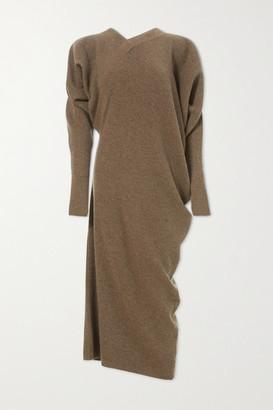 LVIR Asymmetric Ribbed Merino Wool And Cashmere-blend Midi Dress - Brown