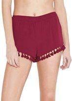 Futurino Women's Solid Color Tassel Pom Pom Beachwear Bottom Lounge Shorts M