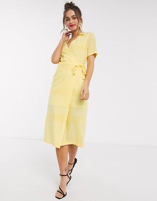 Paper Dolls textured wrap dress in lemon