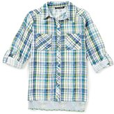 Xtraordinary Big Girls 7-16 Mixed-Media Short-Sleeve Woven Top