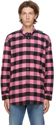 Balenciaga Pink and Black Check Flannel Tab Shirt