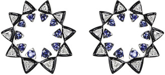 Nikos Koulis V 18k White Gold Diamond & Sapphire Sun Earrings