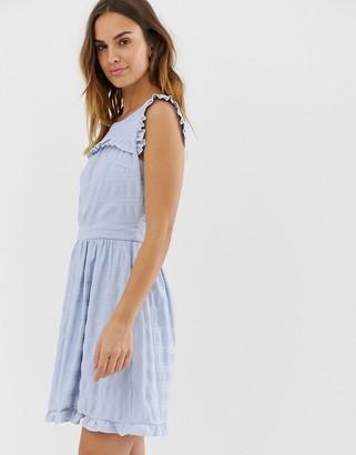 Naf Naf skater dress with embroidery layer-Blue