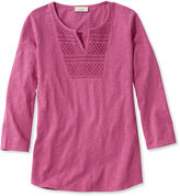 L.L. Bean Splitneck Crochet-Trimmed Tee, Three-Quarter-Sleeve