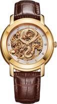 BOS Men's Luxury Watch Rose Gold Case Skeleton Carved Dragon Dial Calfskin Band 9007G