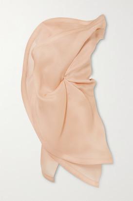 Nina Ricci Asymmetric Strapless Ruffled Silk-gazar Top - Beige
