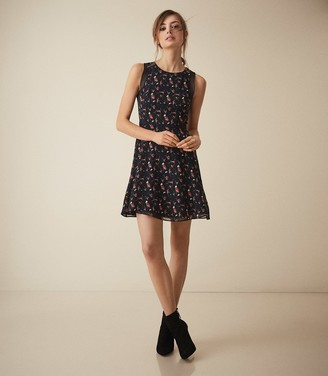 Reiss Louise - Floral Printed Fit And Flare Dress in Multi