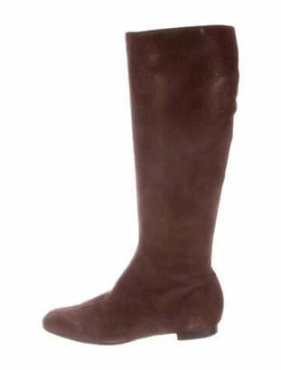 Oscar de la Renta Suede Riding Boots Brown