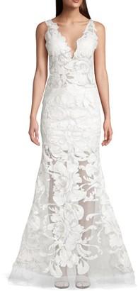 Jovani V-Neck Floral Gown