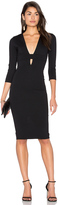 Donna Mizani Banded Deep V Midi Dress