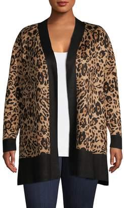 Calvin Klein Plus Leopard-Print Open-Front Cardigan