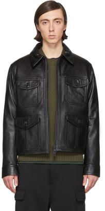 Ami Alexandre Mattiussi Black Leather Blouson Jacket