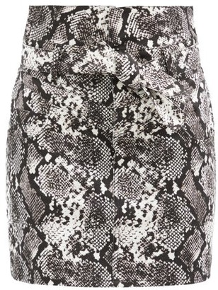 ATTICO Snake-print Cotton Mini Skirt - Black White