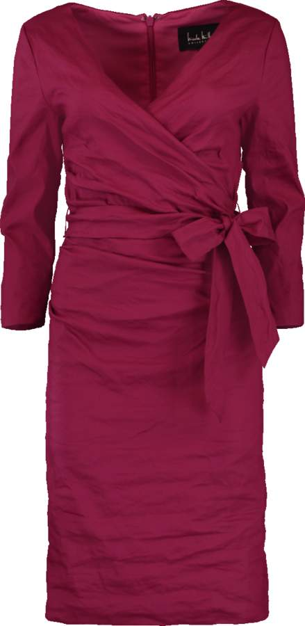 Nicole Miller Solid Cotton Metal Wrap Dress