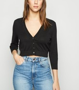New Look Fine Knit Button Crop Cardigan