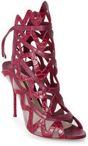 Sophia Webster Wine Mila Croc-Embossed Open Toe High Heel Sandals