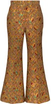 Gucci floral-jacquard logo flared trousers