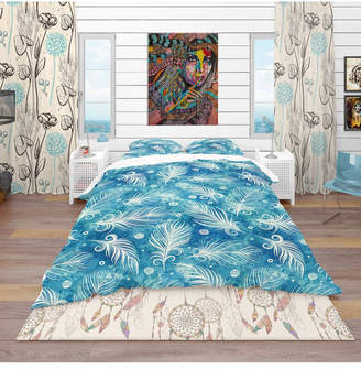 Designart 'Pattern With Feathers And Circles' Southwestern Duvet Cover Set - Queen Bedding