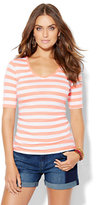 New York & Co. Shirred V-Neck Tee - Stripe