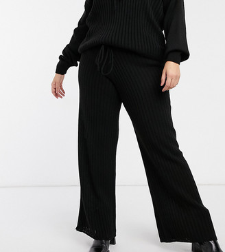 In The Style Plus x Lorna Luxe lullaby ribbed wide-leg pants in black matching set