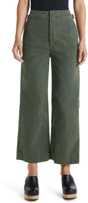 Mother The Cinch Greaser High Waist Crop Wide Leg Pants