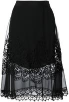 Alberta Ferretti lace overlay a-line skirt - women - Silk/Cotton/Polyamide/other fibers - 44