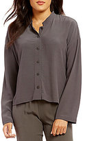 Eileen Fisher Mandarin Collar Box-Top