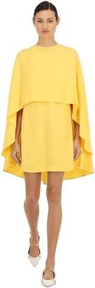 Sara Battaglia Viscose Crepe Mini Dress W/ Chiffon Cape
