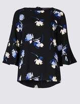 Marks and Spencer Floral Print Kimono Flared Sleeve Shell Top